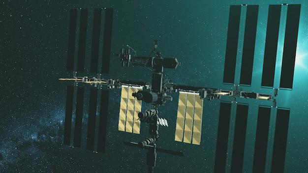 Closeup estação espacial internacional com painéis solares amarelos voam gravitacionais na luz verde da estrela Foto Premium