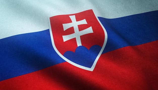 Closeup tiro da bandeira da eslováquia acenando Foto gratuita