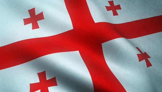 Closeup tiro da bandeira da geórgia acenando com texturas interessantes Foto gratuita