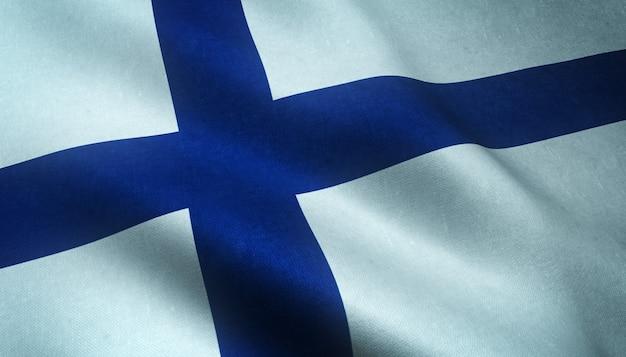 Closeup tiro da bandeira realista da finlândia Foto gratuita