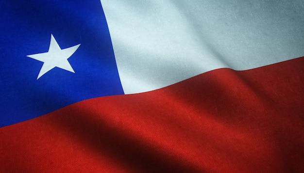 Closeup tiro da bandeira realista do chile com texturas interessantes Foto gratuita