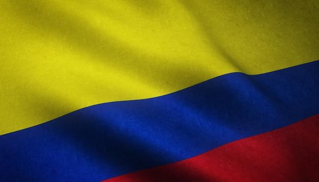 Closeup tiro de uma bandeira da colômbia acenando com texturas sujas Foto gratuita