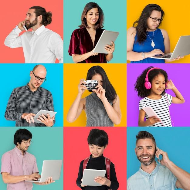 Cobrança, pessoas, usando, digital, dispositivo, colagem Foto Premium
