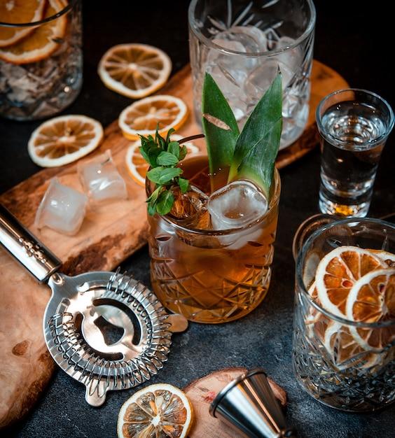 Cocktail com cubos de gelo e folhas de hortelã Foto gratuita
