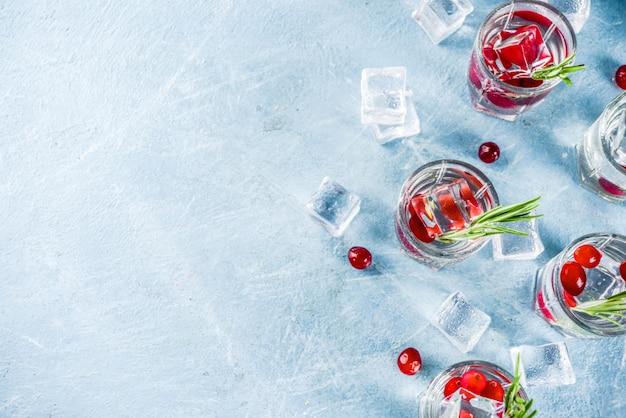 Cocktail de inverno com cranberry e alecrim Foto Premium
