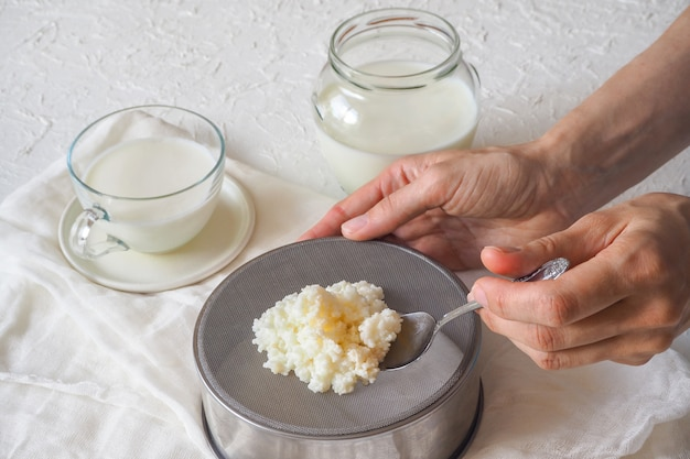 Cogumelo leite tibetano. grãos de kefir de leite caseiro em um filtro de filtro. Foto Premium
