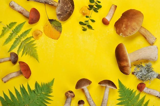 Cogumelos e folhas em fundo amarelo Foto Premium