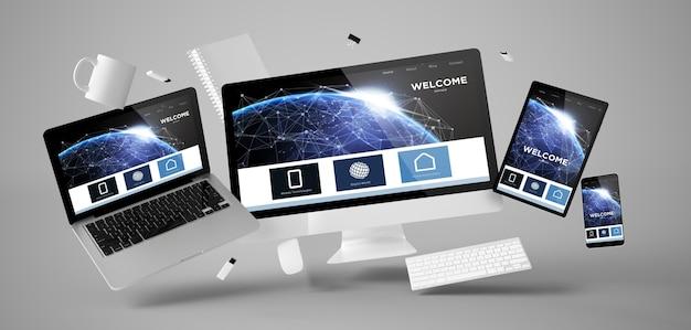 Coisas de escritório e dispositivos flutuando com renderização 3d do site da página de boas-vindas Foto Premium
