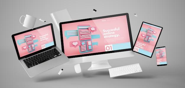 Coisas de escritório e dispositivos flutuando com renderização em 3d do site de marketing online Foto Premium