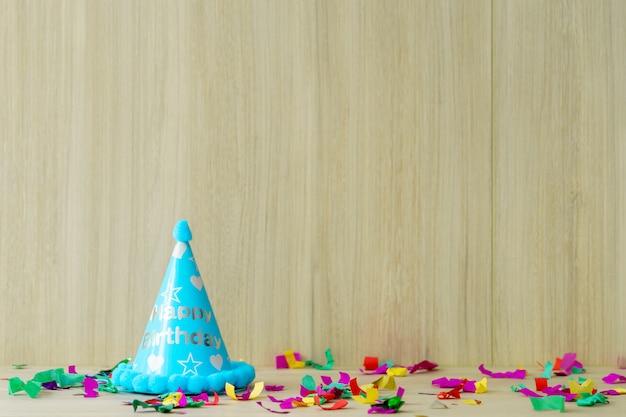 Coisas de festa de aniversário de criança configurar para espaço de cópia Foto Premium