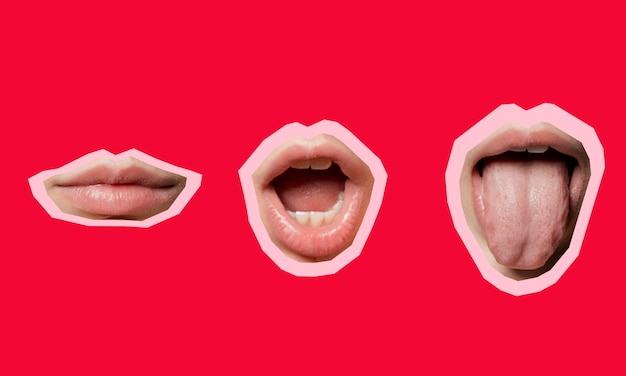 Colagem com formas de posição da boca Foto gratuita