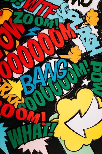 Colagem, de, expressão, texto, em, diferente, cor Foto gratuita