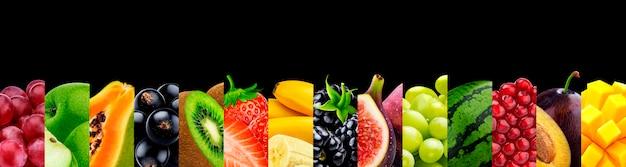 Colagem de frutas isoladas em preto com copyspace Foto Premium