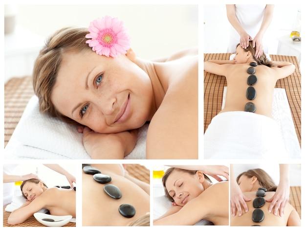 Colagem de uma jovem mulher sendo massageada Foto Premium