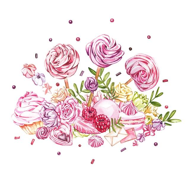 Coleção de doces em aquarela. imagem em aquarela de uma composições de doces, bolos e envelope. Foto Premium