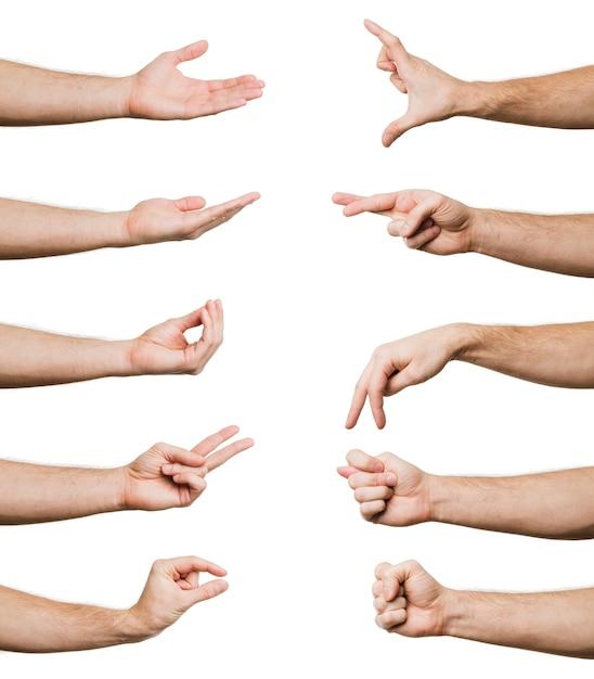 Coleção de gestos de mão Foto Premium