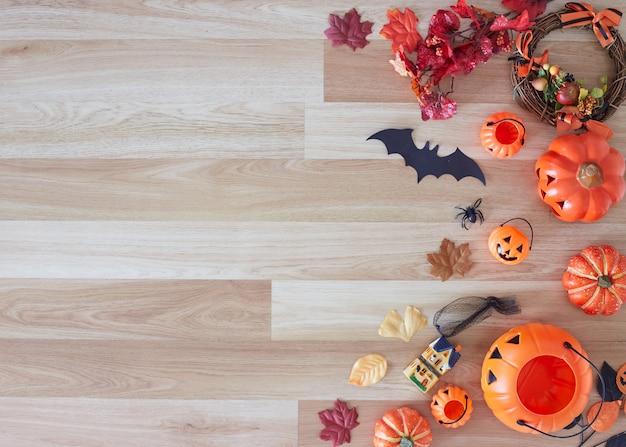 Coleção de objetos de festa de halloween, formando um quadro Foto Premium