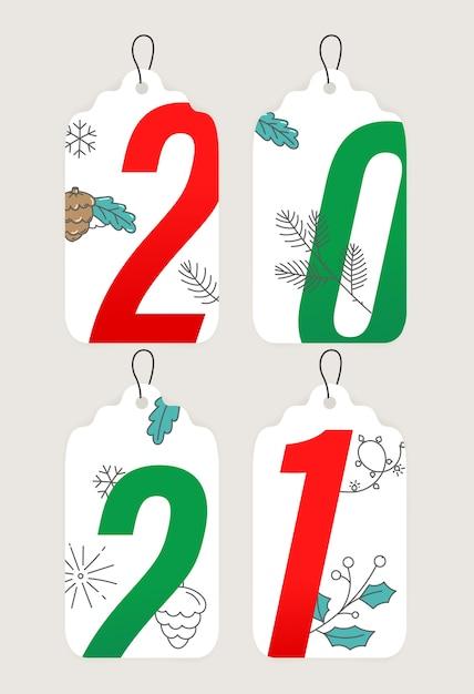 Coleção de rótulos de ano novo desenhada à mão Foto Premium