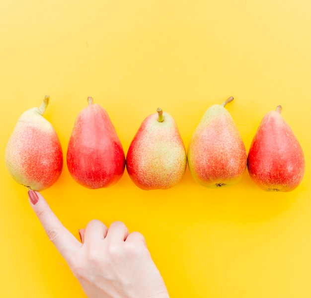 Colheita de mão feminina contando frutas Foto gratuita