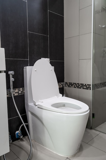 Colocação de vaso sanitário no banheiro Foto Premium