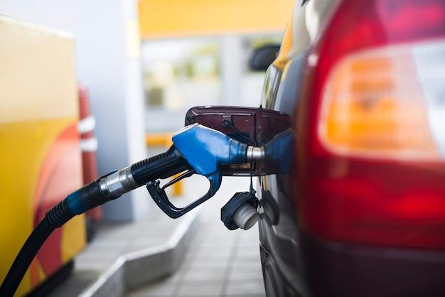 Combustível, gasolina, car, em, posto gasolina Foto Premium
