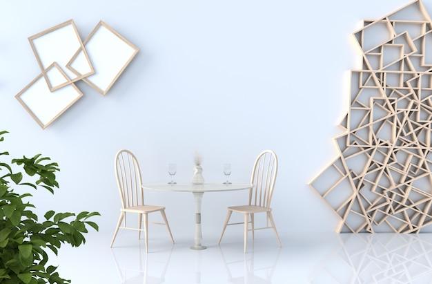 Comendo a decoração do quarto branco com parede das prateleiras, assoalho de telha, frame de retrato, cadeira, vinho da grama, árvore, filial. renderização 3d. o sol brilha através da janela para as sombras. Foto Premium