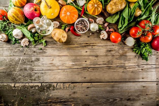 Comida de outono cozinhar fundo Foto Premium