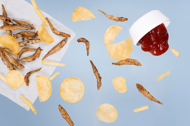 Comida deliciosa de peixe com batatas fritas da inglaterra Foto gratuita