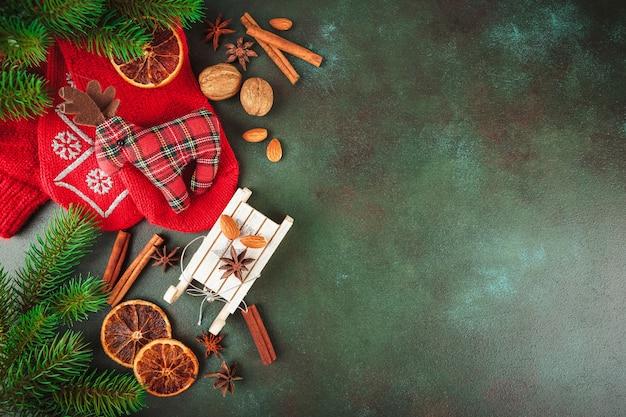 Comida e decoração de natal Foto Premium