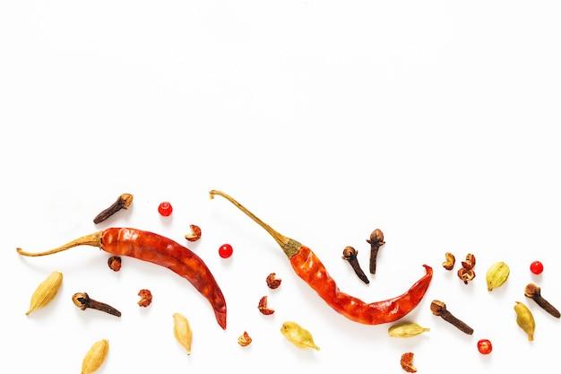 Comida especiarias apresentação fundo vermelho seco pimentões e vários exóticos spieces sobre fundo branco Foto Premium