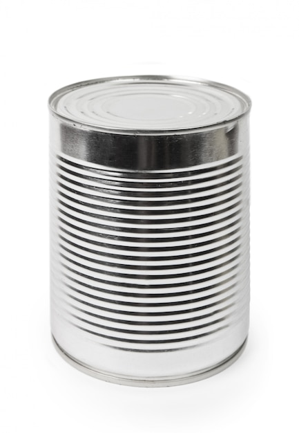 Comida pode isolado no fundo branco Foto Premium