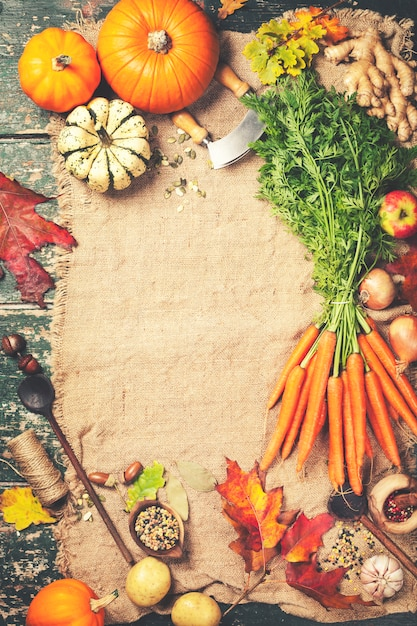 Comida saudável, cozinhar o fundo, vista superior, copie o espaço Foto Premium