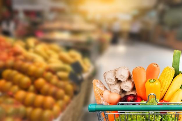 Comida saudável no supermercado on-line conceito de compras de supermercado Foto Premium