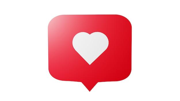 Como o ícone de notificação de mídia social com o símbolo do coração. conceito de sucesso de mídia social - renderização em 3d Foto Premium