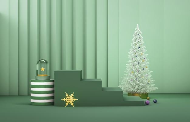 Composição 3d abstrata. fundo de natal de inverno com árvore de natal e palco para a exposição do produto. Foto Premium