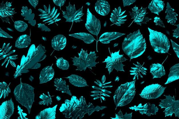 Composição aberta de diferentes folhas de outono na luz de neon Foto Premium
