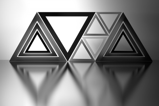 Composição abstrata com triângulos sobre o piso de espelho Foto Premium