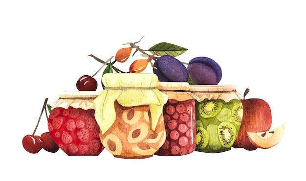 Composição com colheita de outono, para o projeto de outono. cogumelos, frutas, frutas e geléia Foto Premium