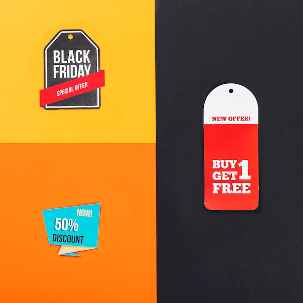 Composição das vendas de sexta feira preta com diferentes rótulos Foto gratuita