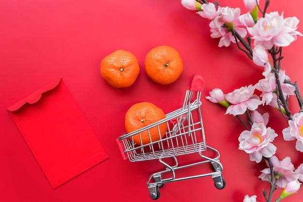 Composição de ano novo chinês de vista superior Foto gratuita