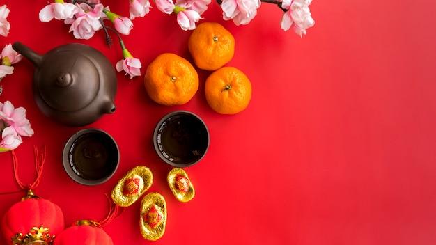 Composição de ano novo chinês vista superior com copyspace Foto gratuita