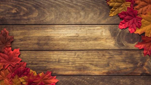 Composição, de, coloridos, outono sai, em, cantos Foto gratuita