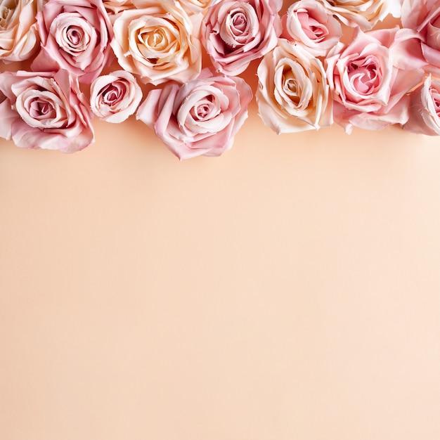 Composição de flores. flores da rosa do rosa no fundo do rosa pastel. flat lay, vista de cima, copie o espaço Foto gratuita