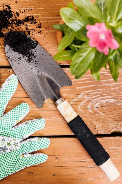 Composição de jardinagem plana leigos sobre a mesa Foto gratuita