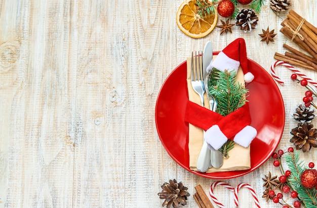 Composição de natal com mesa Foto Premium