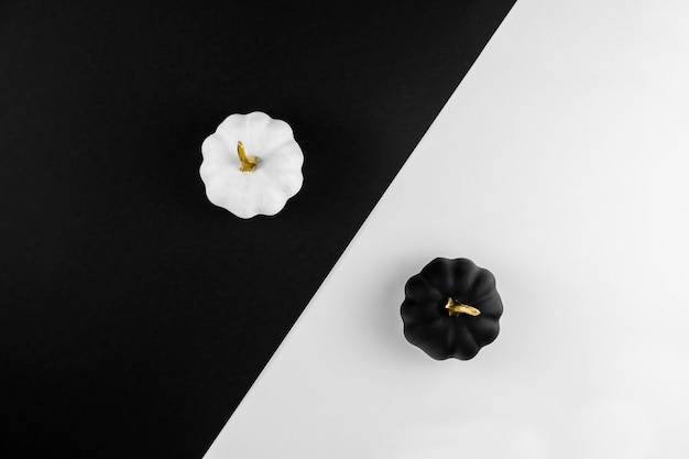 Composição de outono com abóboras brancas e pretas Foto Premium