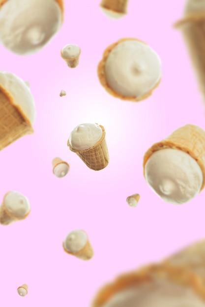 Composição de sorvete em um fundo rosa Foto Premium