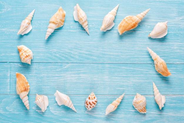 Composição de verão plana leigos com conchas do mar Foto gratuita