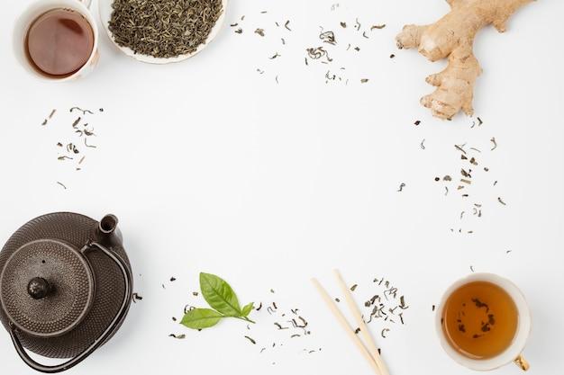 Composição de vista superior para o conceito de chá Foto gratuita