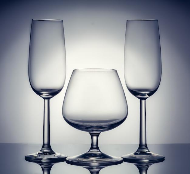 Composição elegante de três copos Foto Premium